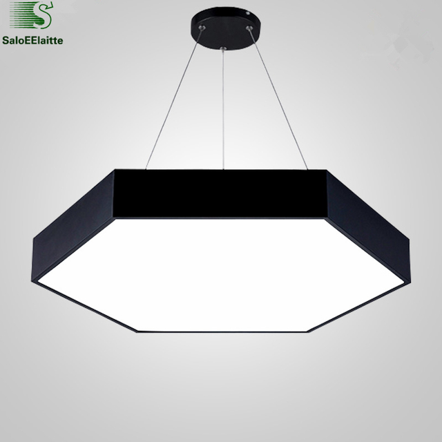 metal hanging suspension acrylic lampares hexagon luminaria light pendant luminarie led fixtures minimalism item modern