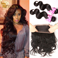 360 Lace Frontal With Bundle 100% human hair Closure Malaysia virgin hair body wave 2 bundles with closure 360 lace virgin hair