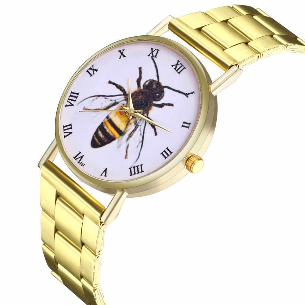 Pulsera de Metal pulsera de cuarzo pulsera de oro cristal diamante reloj de oro Unisex hombres mujeres reloj de acero inoxidable reloj de mujer 50y