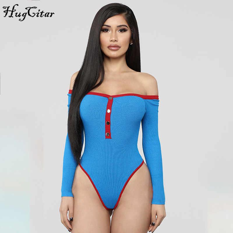 Hugcitar acanalado de punto de hombro de manga larga sexy bodysuit 2019 Otoño Invierno mujer moda streetwear club party outfits body