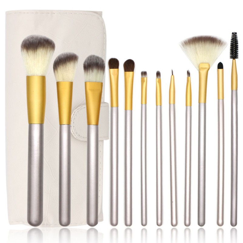 Soft 12/18/24pcs Makeup Brushes Set Cosmetic Foundation Eyeshadow Blush Kits Make Up Tools + Leather Bag Professional maquiagem professional 24pcs set champagne makeup brushes powder foundation blush brush high quality cosmetic make up tools kits with bag