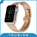 Ligação de aço inoxidável pulseira para apple watch sport edition 38mm 42mm cinta iwatch borboleta fivela pulseira de prata ouro negro