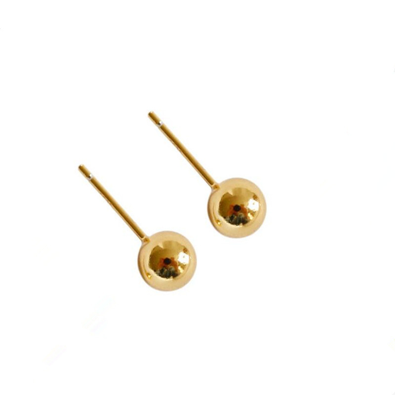 2018 Classic Minimalist Ball 18K Gold Bead Stud Earrings For Womens Man Girls Diameter 3mm Real AU 750 Stud Earring 0.37g/pair pair of stylish rhinestone triangle stud earrings for women