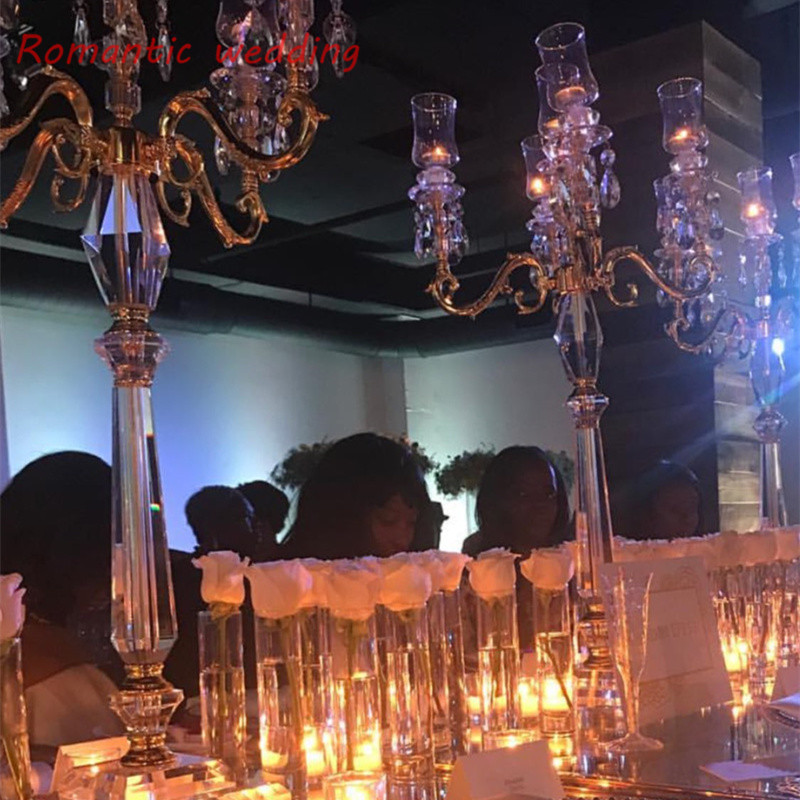4pcs/lot free shipment Bright Crystal Glass Clear Candelabras with 5 Candle Cup for Table Usage Wedding Event Party centerpiece