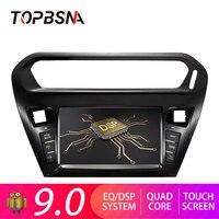 TOPBSNA 1 Din Android 9,0 автомобильный мультимедийный плеер для Citroen Elysee 2014 2016 peugeot 301 gps навигационная система, стереомагнитола радио wifi головное устр