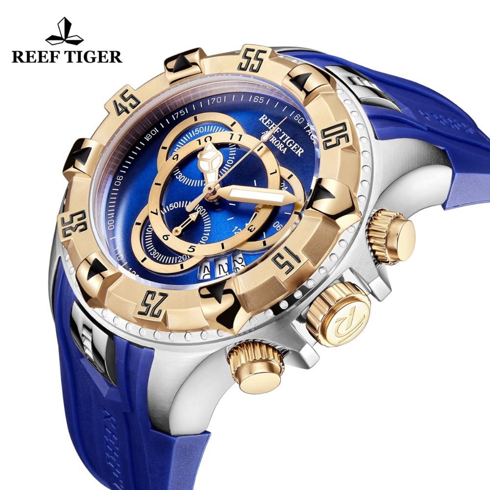 2019 Reef Tiger RT Top Brand Luxury Men Sport Watch Waterproof Blue Chronograph Military Watch Clock