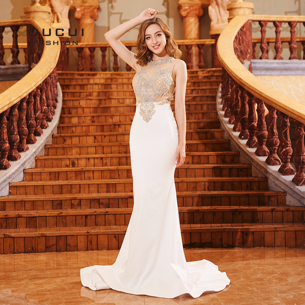 Newest Crystal Beading White Lace   Evening     Dress   Formal Tank O-Neck Sexy Illusion Mermaid Gowns Court Train Abendkleider OL103309