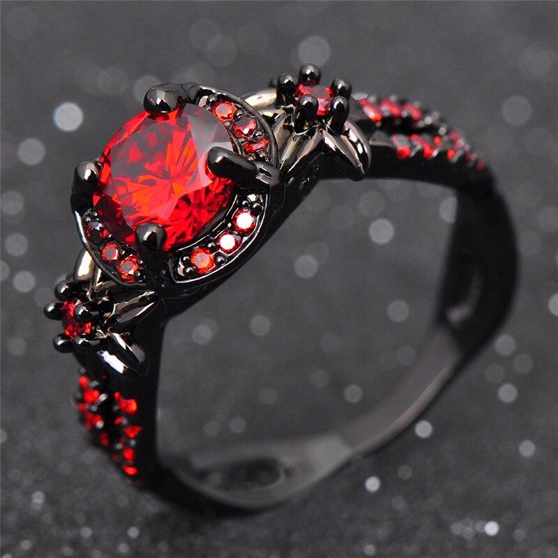 Мода Цветок Блестящие Красное Кольцо Красный Гранат Женщины Очаровательный Обручальное Ювелирные Изделия Черное Золото Заполненные Кольца Обещание Bijoux Femme RB0435