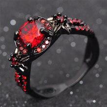 Anillo rojo brillante de la flor de moda anillo rojo granate mujer encantadora joyería de compromiso negro oro lleno de promesa anillos Bijoux Femme RB0435