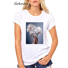 Aesthetics T shirt Women Nice Flowers Feather Print tshirt vintage art tops summer casual short sleeve kawaii women clothes 2019 свитшот print bar summer nice