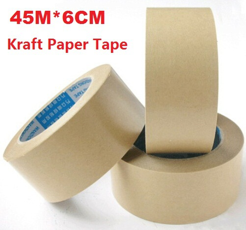 45M*6CM/Vintage Blank Kraft Paper Adhesive Tape/package tape/DIY Multifunction seal sticker for handmade product/Wholesale matte silver self adhesive paper label printing diy crafts sticker for library book electronics blank bar code printed labels