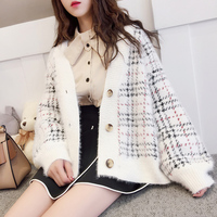 Red Sweater Cardigan Long sleeved Korean Wild 2018 Spring New Short paragraph Sweater Thicken Student