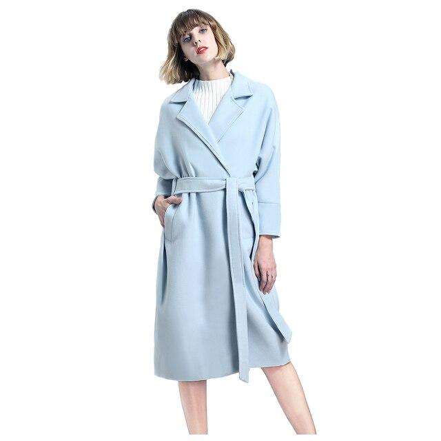 TFGS 2017 Winter Wool Long Cardigan Coat Women With Belt Sky Blue/Pink Open Stitch Cloak Loose Thicken Ladies Coat Female