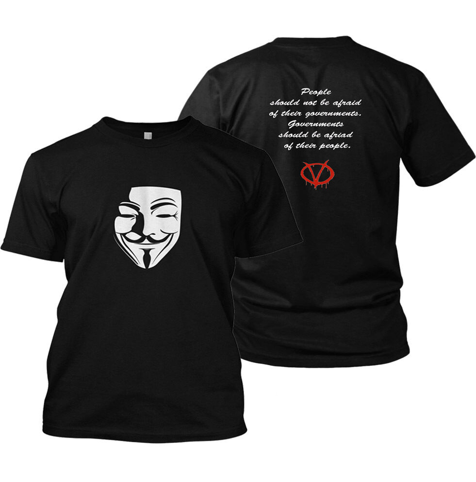 2019 Funny V For Vendetta T-Shirt Anarchy 99% Fawkes Mask Anonymous Rally T Shirt Double Side Unisex Tee