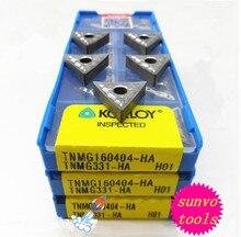 Inserções de carboneto cimentado coreano, inserções de torneamento de carboneto tnmg160404 om tnmg160402 a.ak h01 com 10 peças