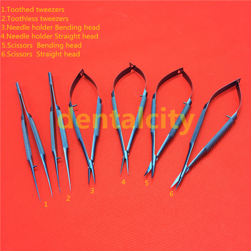 14cm Titanium Microsurgical Surgical Ophthalmic Instruments Dental Instruments Scissors+Needle Holders +Tweezers цена