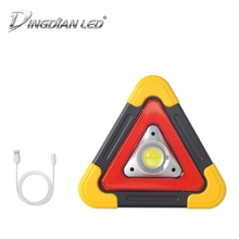 Triangle Warning Traffic Light DC5V 20W COB Solar Rechargeable Outdoor Portable Handle Car Repair LED Work Easy Carry