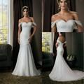 2016 de La Gasa de la Sirena de la Playa Vestidos de Novia de Novia Fuera Del Hombro vestidos de noiva robe de mariage Por Encargo
