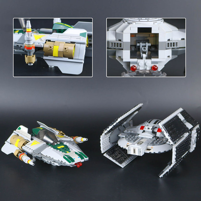 05030 Star Vader Tie Advanced VS A-wing fighter Compatible With Legoing 75150 Wars Building Blocks Bricks Children Gifts