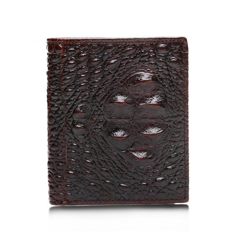2016 Alligator Mens Genuine Leather Credit Card Holder boy Purse Handbag Cross Vertical Men SHort Wallet