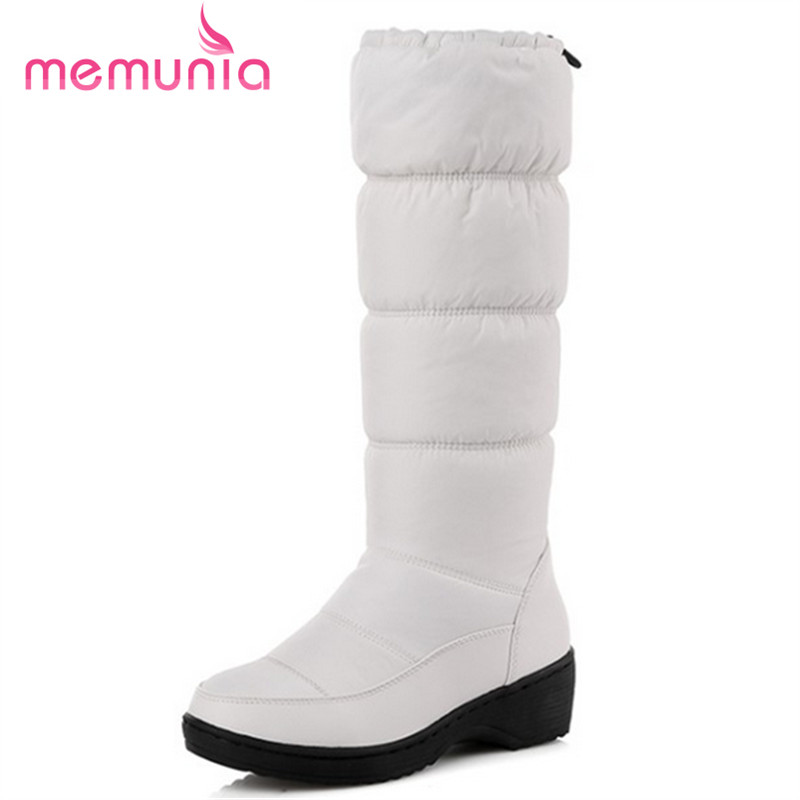 MEMUNIA NEW 2017 fashion keep warm knee high snow boots round toe soft leather warm down winter thick fur winter shoes