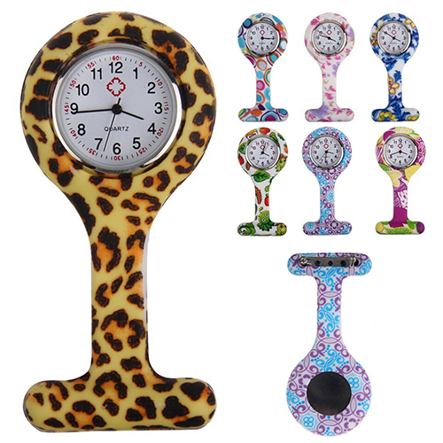 2016 Fashion Patterned Silicone Nurses Brooch Tunic Fob Pocket Watch Stainless Dial