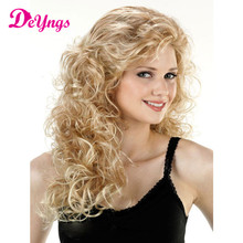 Best Afro Kinky Curly Wigs Hair Long Blonde Wig Cosplay Heat Resistant African American Natural Cheap Hair Wig 150% Density 26""