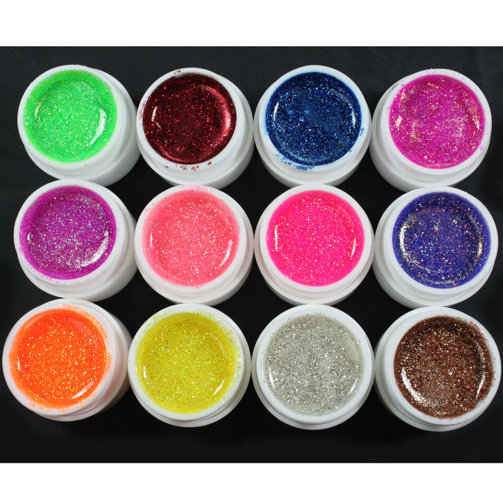 12 Color Glitter UV Gel  Builder False Tips Acrylic Nail Art Polish Kit Set dn2 39 mix 2 3mm solvent resistant neon diamond shape glitter for nail polish acrylic polish and diy supplies1pack 50g