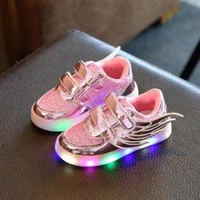 2016 new arrive Kids LED Luminous shoes wings boys girls sneakers children casual sport shoes toddlers shoes without USB