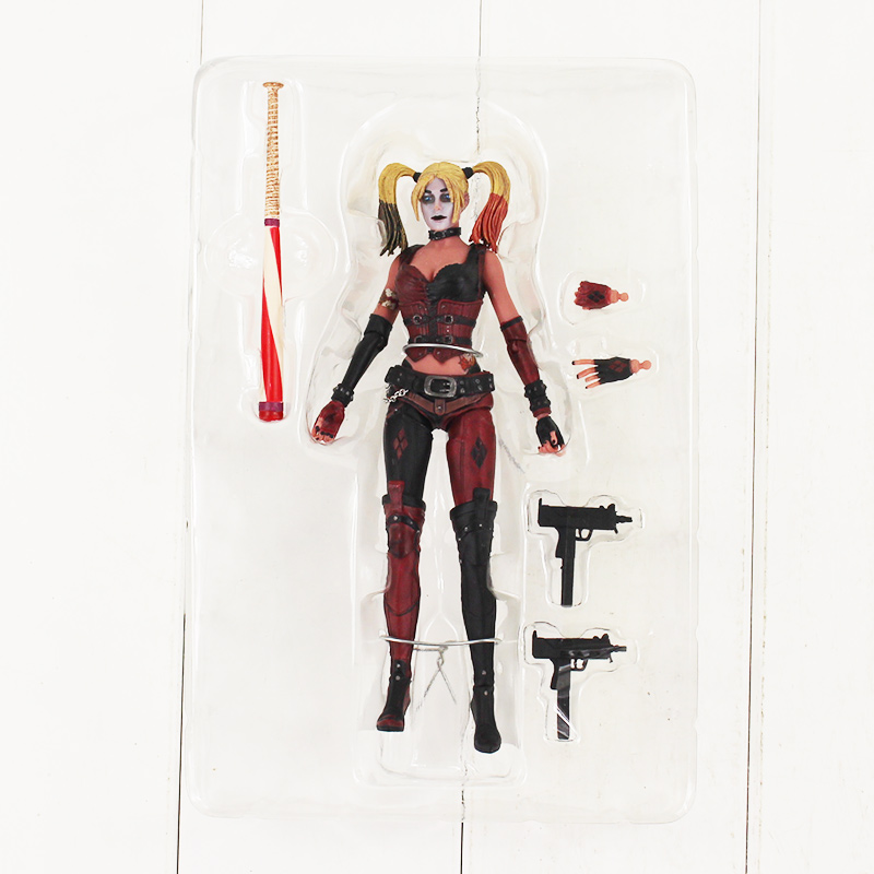 18cm Harley Quinn Action Figure Toy Suicide Squad Harley Quinn With Baseball Bat Gun Weapon Collectible Model Doll suicide squad harley quinn harleen quinzel high quality pu short wallet purse with button