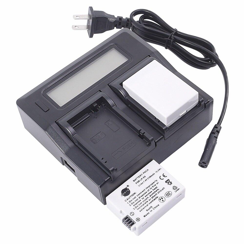 DSTE 2 pièces Li-ion LP-E8 lp-e8 Batterie D'appareil Photo Avec ÉCRAN LCD Double Chargeur pour appareil photo CANON 550D 600D 650D 700D X4 X5 X7i X6i T5i T4i T3i T2i