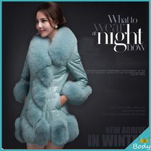 New Plus Size Faux Fox Fur Long Outwear Coat Fashion Women Winter Warm Fur PU Leather