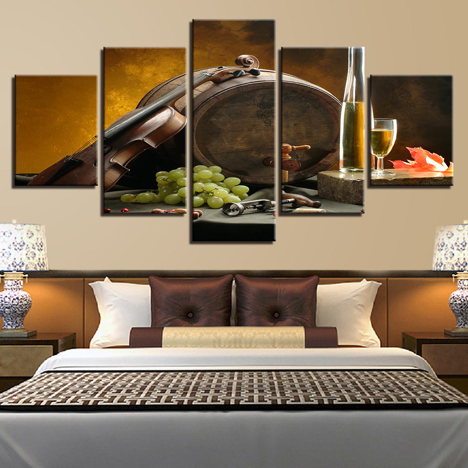 Online Canvas Paintings Kitchen Wall Art Framework 5 Pieces Wine Gl Oak Barrels Pictures Hd Prints Grape Violin Posters Home Decor Aliexpress