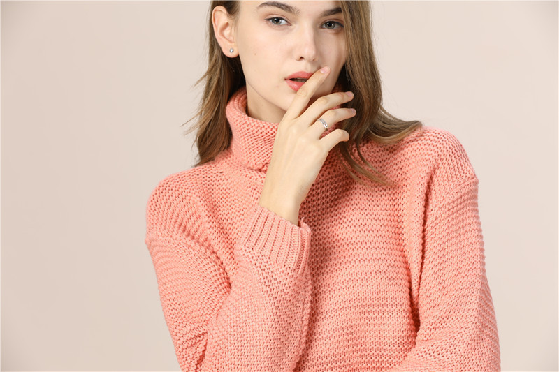 Casual Loose Autumn Winter Turtleneck Sweater Women Oversize Solid Knitted Sweaters Warm Long Sleeve Pullover Sweater Black Pink 14