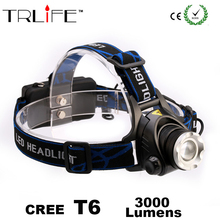 Camping Light CREE XML T6 LED 3000 Lumens Rechargeable Zoom led Headlights Hunting Light Headlamps Outdoor Light
