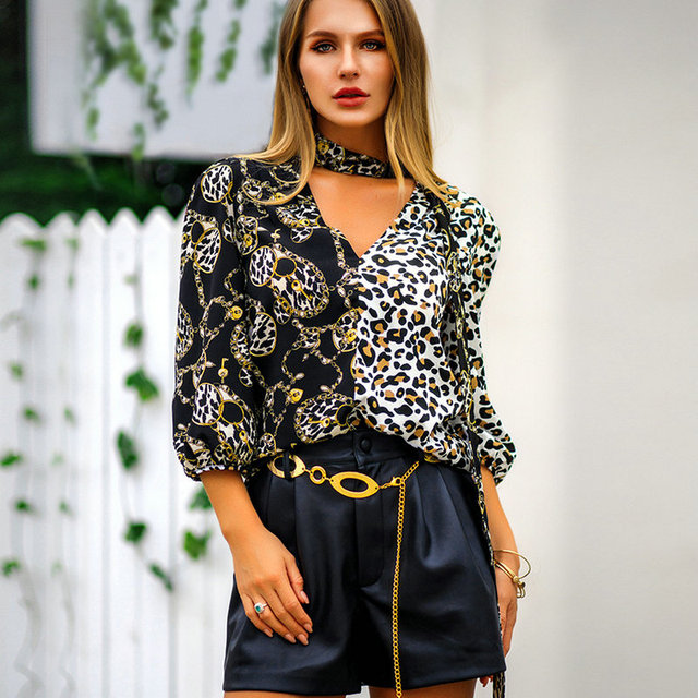 52bcc01fb285c Women Blouses 2019 Spring Fashion Seven quarter Sleeve Print Chiffon Blouse  Office Shirt Casual Plus Size Womens Tops And