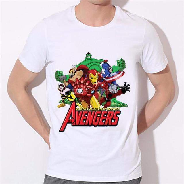 Avengers moda impreso hombres camiseta blanca camisa marca ropa serie  Superhero Hulk Iron Man Spider- 3c25484ec5c64