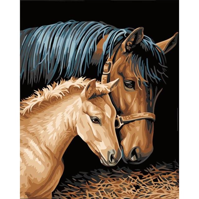 Pittura A Olio Digitale Di Diy Dai Numeri Cavalli Decorazione Della