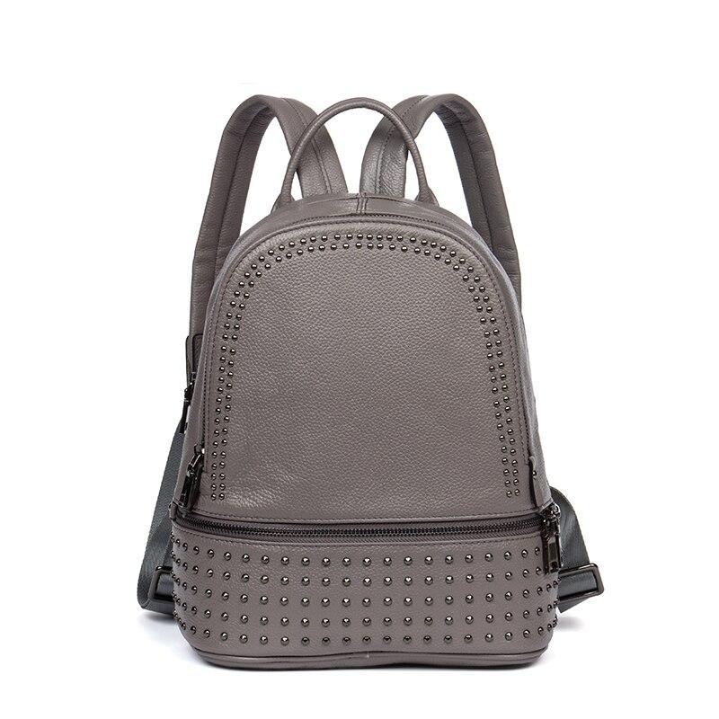 Women Backpack Genuine Leather Designer Rivet Fashion Travel Bag Ladies Fashion Real Leather School Bag