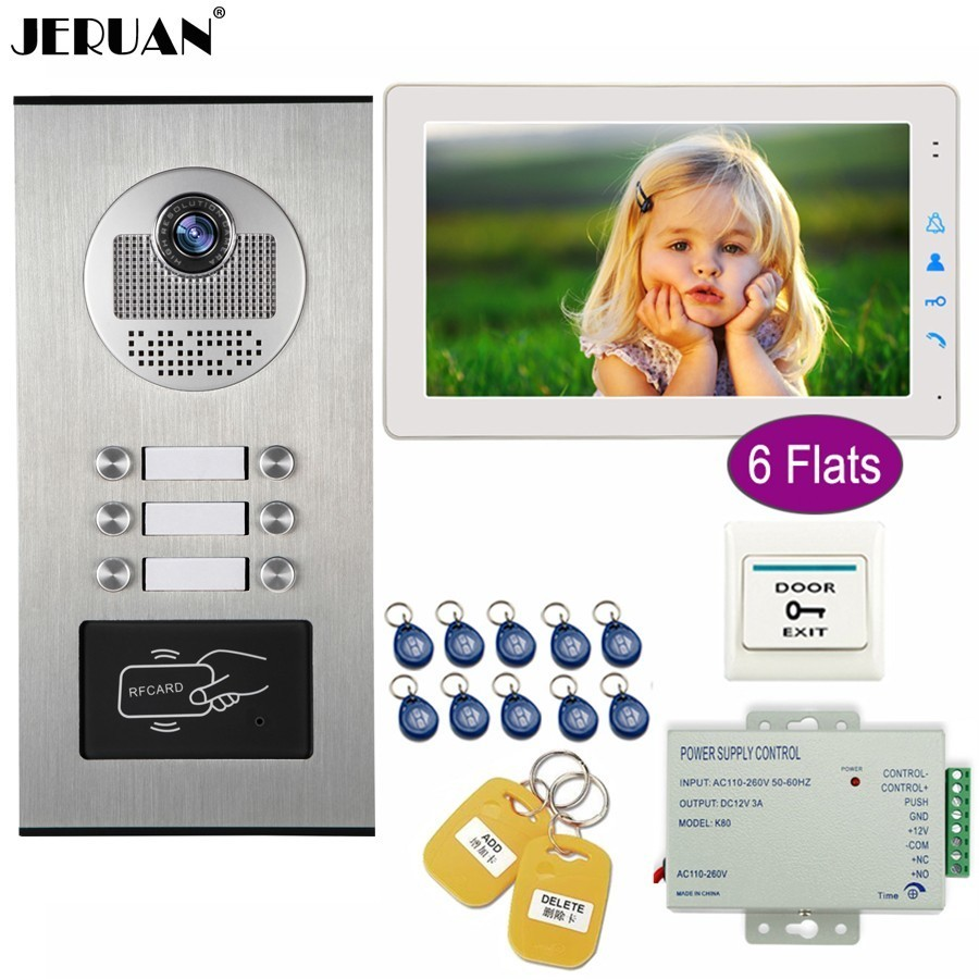 JERUAN Wired 9 inch Video Doorbell Door Phone Intercom System Kit HD RFID Access Camera For 6 Households Apartment In Stock jeruan home wired 9 inch lcd video intercom door phone doorbell unlock intercom system kit hd ir camera in stock free shipping