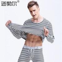 MIBOER 2017 Autumn Men Long Johns Set Cotton Striped Mens O Neck Clothing Long Thermal Underwear