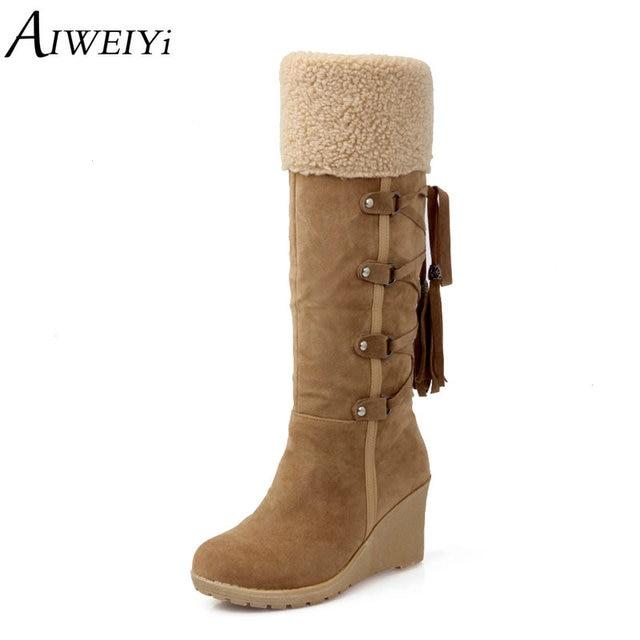 d73437b6a AIWEIYi Mulheres Na Altura Do Joelho Botas De Cano Alto Cunha Sapatos de Salto  Alto Cavaleiro