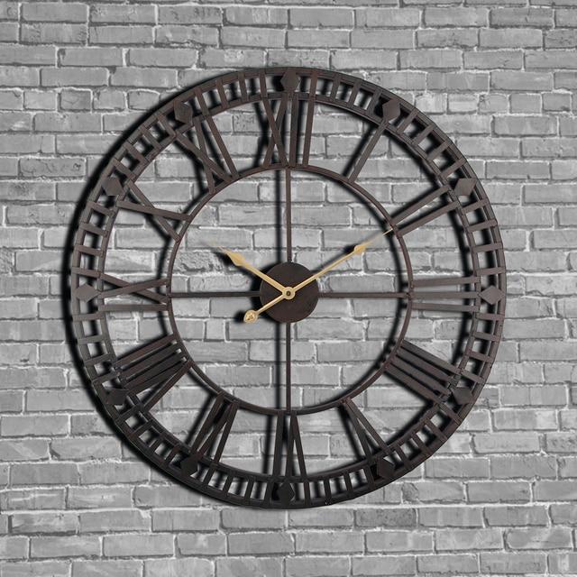 vintage horloge murale 60 cm grand clokc montre en m tal forg industriel fer horloge montre. Black Bedroom Furniture Sets. Home Design Ideas