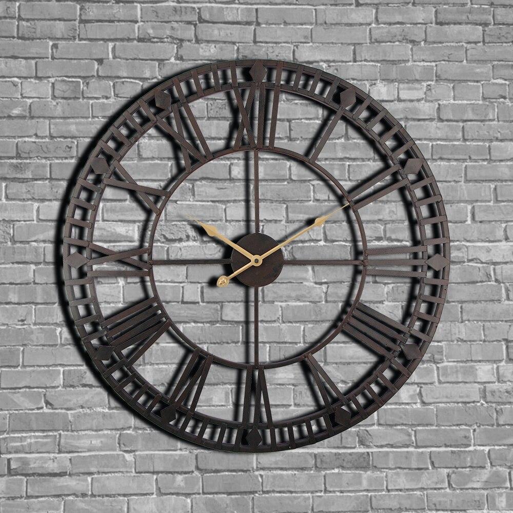 Vintage Wall Clock 60cm Large Clokc Watch Wrought Metal Industrial Iron Clock Watch Saat Classic