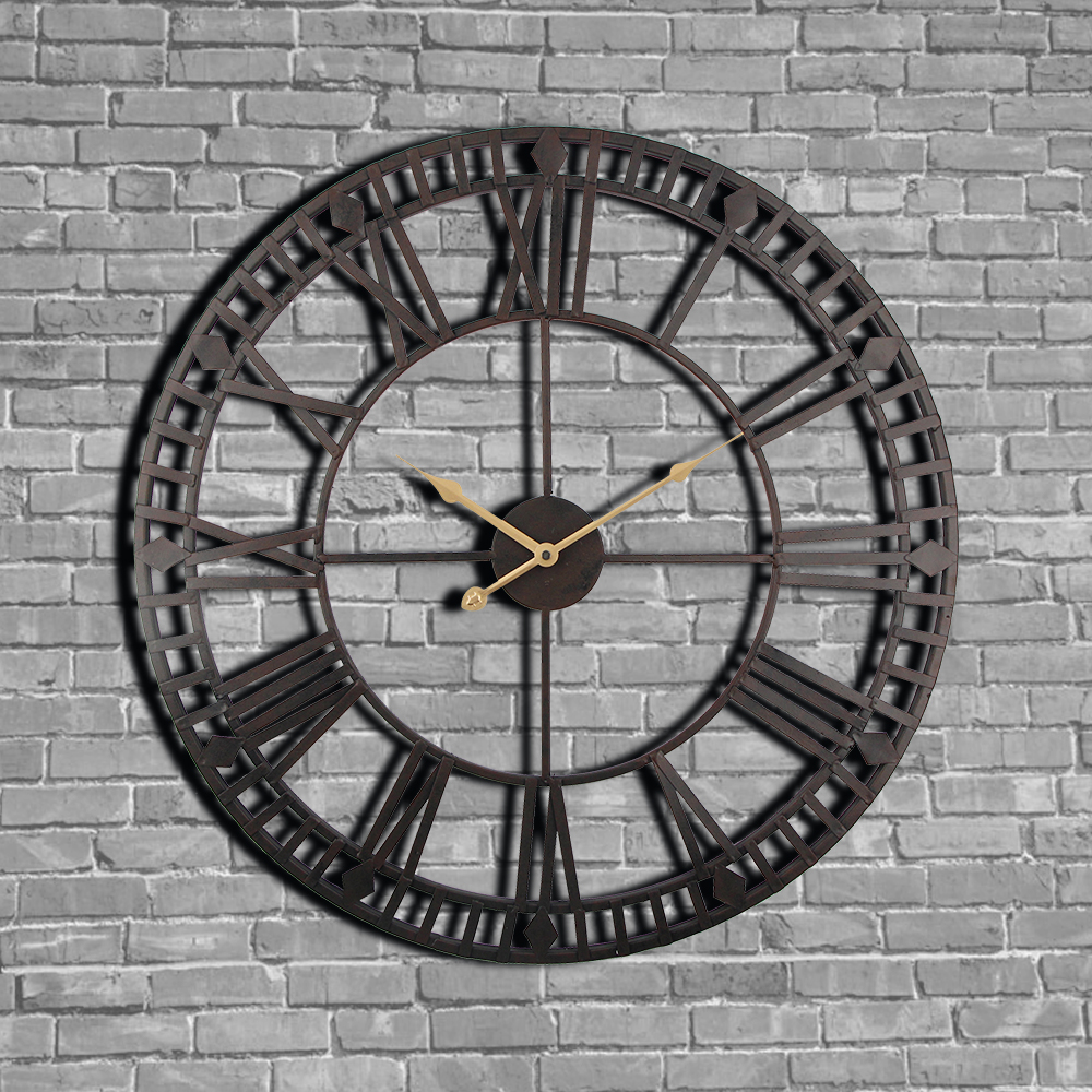vintage wall clock 60cm large clokc watch wrought metal industrial iron clock watch saat classic. Black Bedroom Furniture Sets. Home Design Ideas