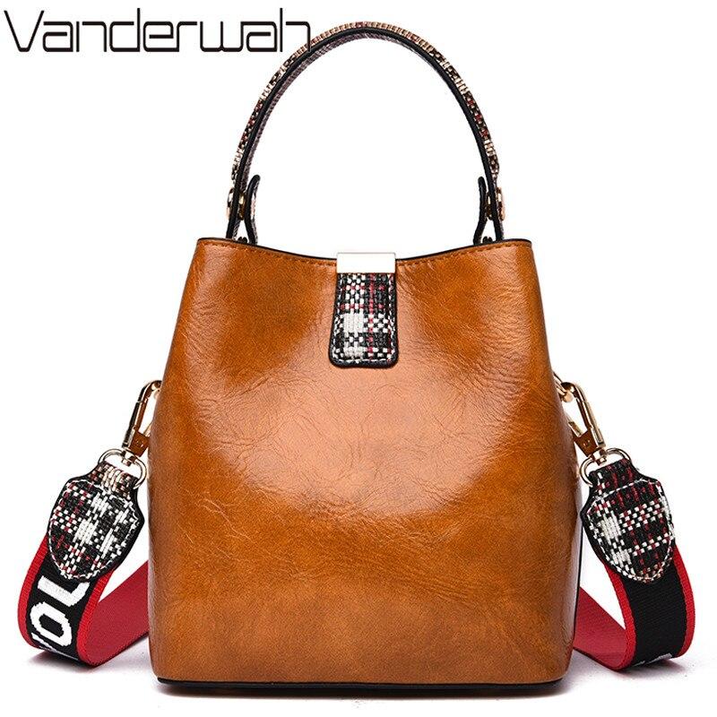 Women Bucket Bag Retro PU Leather Handbags For Girls Large Capacity Casual Shoulder Messenger Bags Female Crossbody Design Totes
