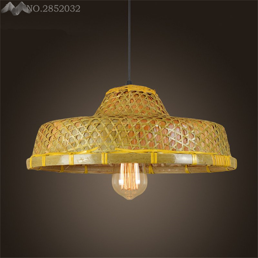 JW Southeast Asian Hand Made Straw Hat Pendant Lamp Bamboo ...