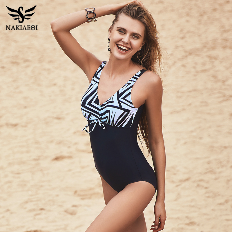 NAKIAEOI 2017 New One Piece Swimsuit Women Vintage Bathing Suits Plus Size Swimwear Beach Padded Print Polka Black Swim Wear 4XL new one piece swimsuit women vintage monokini female high waist bathing suits black plus size swimwear swim suit m 4xl