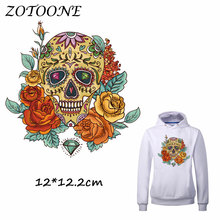 ZOTOONE Flower Skull Heat Transfer Clothes Stickers Patches for T Shirt Jeans Iron-on Transfers DIY Decoration Applique Clothes 50pcs wholesale bird heat transfers iron on patches for coat jeans t shirt clothes decorative diy craft stickers applications