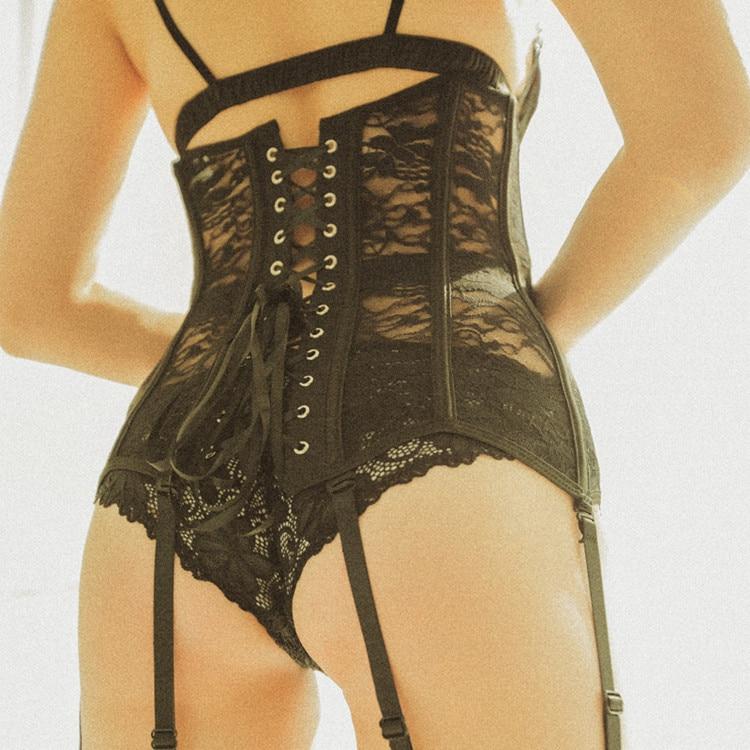Corset Sexy à lacets Bustier dentelle noire